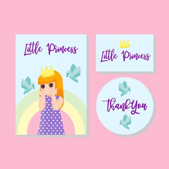 Cute card kids invitation thanks card boy girl hand drawn