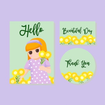 Cute card kids invitation thanks card boy girl hand drawn
