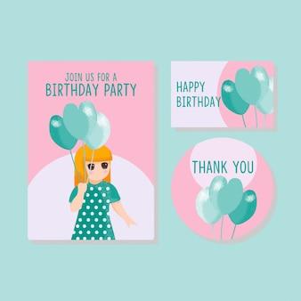Cute card kids приглашение спасибо карты мальчик девочка рисованной