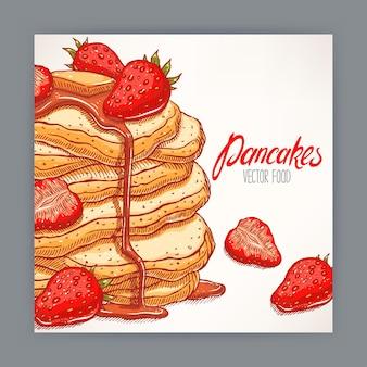 いちごとシロップの食欲をそそるパンケーキのかわいいカード。手描きイラスト
