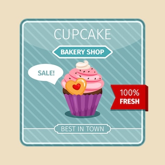 Cute card pink cupcake with heart
