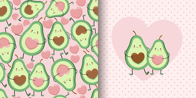 Cute card and seamless pattern with avocado lovers.