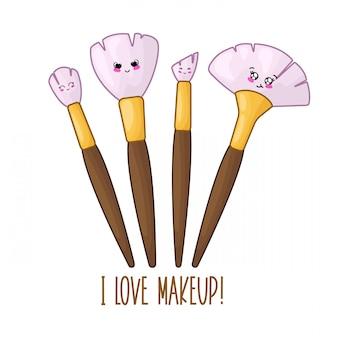 Cute card template with kawaii makeup brushes