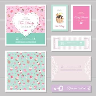 Cute card templates set.