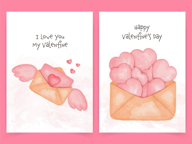 Cute card for valentine's day. heart and envelope in watercolor style.