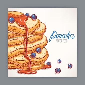 ブルーベリーとシロップの食欲をそそるパンケーキとかわいいカード。手描きイラスト