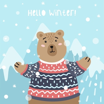 Cute card with a bear and mountains