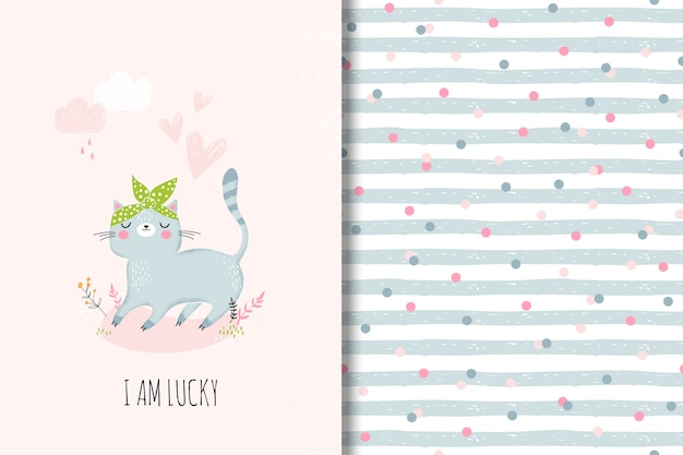 Cute card with cartoon cat and funny seamless pattern