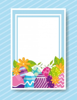 Cute card with eggs easter decorated