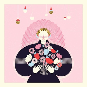 Cute card with a fashionable girl in a black dress holding flowers