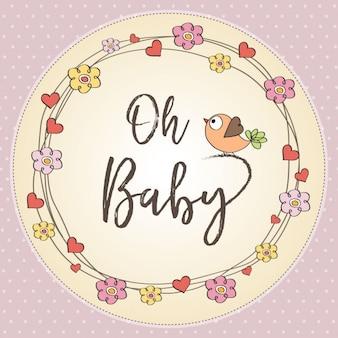 베이비 샤워 꽃과 귀여운 카드