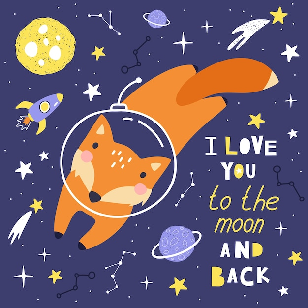 Cute card with fox astronaut, planets, tars and comets. pace background for kids.
