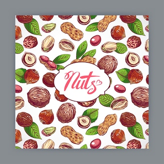Cute card with nuts and leaves. hand-drawn illustration