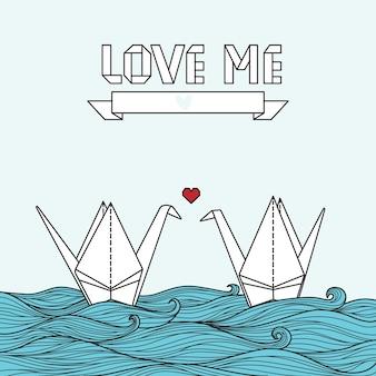Милая открытка с оригами журавль в любви. может использоваться для приглашения или баннера