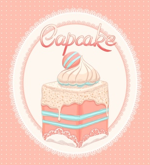 Cute card with pink cake on a white lace oval background