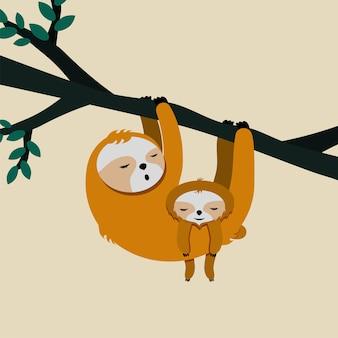 나무 늘보 엄마와 아기와 함께 귀여운 카드. 해피 어머니의 날.