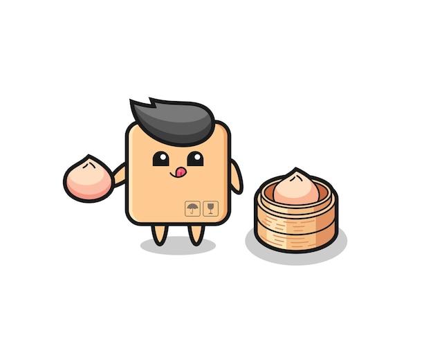 蒸しパンを食べるかわいい段ボール箱のキャラクター、tシャツ、ステッカー、ロゴ要素のかわいいスタイルのデザイン