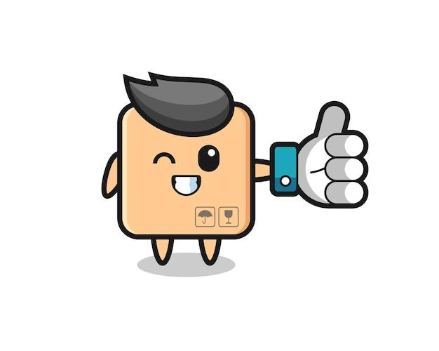 ソーシャルメディアの親指を立てるシンボル、tシャツ、ステッカー、ロゴ要素のかわいいスタイルのデザインとかわいい段ボール箱