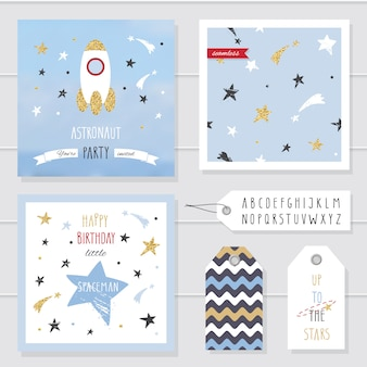 Cute cards and badges with gold confetti glitter for kids.