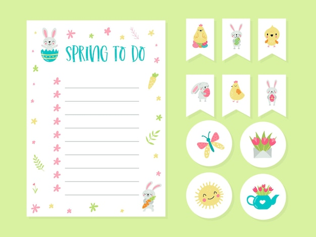 Cute cards, notes, stickers, labels, tags for education and notes with spring illustrations. template for scrapbooking, wrapping, congratulations, invitations.
