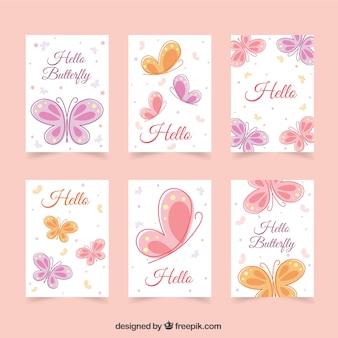 Cute cards with butterflies in pastel colors