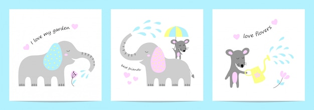 Cute cards with elephant and mouse