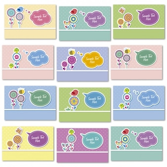 Cute cards with flowers and speech bubbles