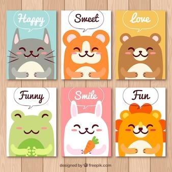 재미있는 동물들과 함께 귀여운 카드