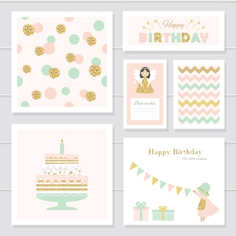 Cute cards with glitter for girls