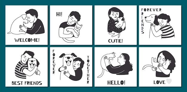사람들을 껴안고 있는 귀여운 카드. 애완 동물 주인은 고양이 개를 안고 있습니다. 재미 있는 동물 벡터 배너