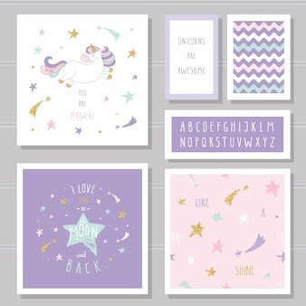 Cute cards with unicorn and gold glitter stars