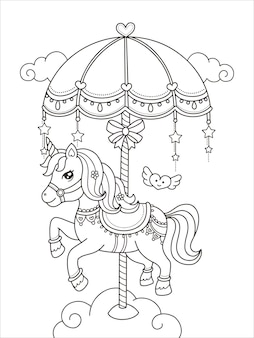 Cute carousel unicorn printable coloring page