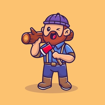 Cute carpenter holding ax and wood