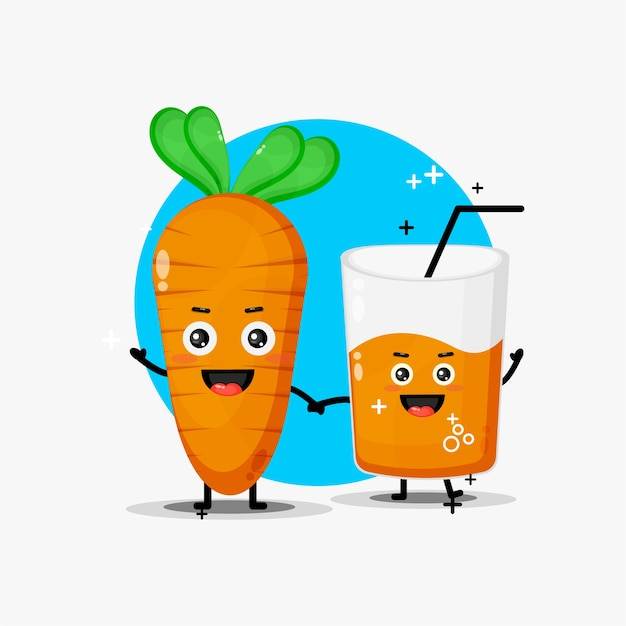 Cute carrot and carrot juice mascot holding hands