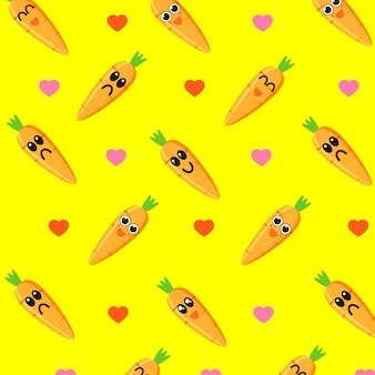 Cute carrot character pattern vector