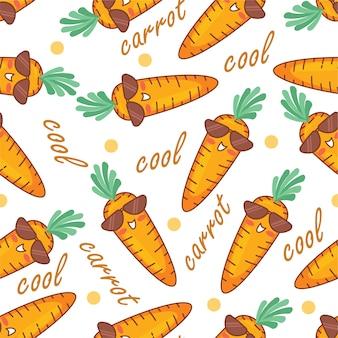 Cute carrot doodle cartoon seamless pattern