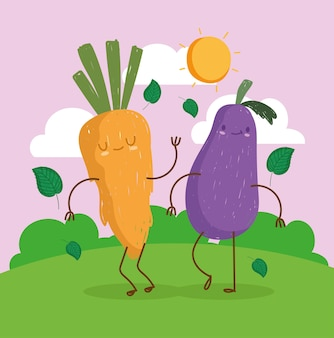Cute carrot and eggplant