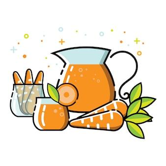 Cute carrot juice flat icon set vector