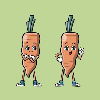 Cute carrot mascot cartoon