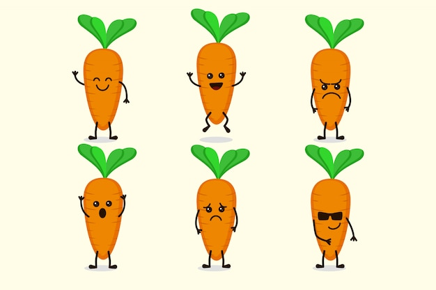 Cute carrot vegetable character isolated in multiple expressions