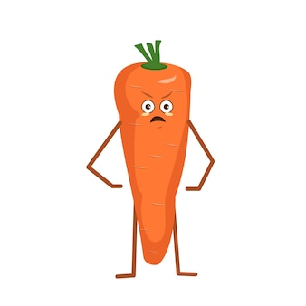 Cute carrot with angry emotions isolated on white background. the funny or grumpy hero, orange fruit and vegetable. vector flat illustration