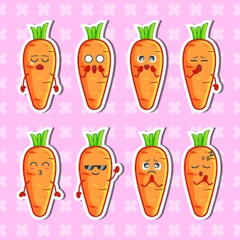 Cute carrots character sticker collection set premium vector