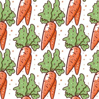Симпатичная морковь бесшовные модели. рисованной векторные иллюстрации. мультяшный стиль. изолированные на белом фоне.