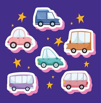 귀여운 자동차와 트럭