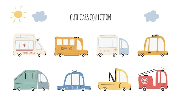 귀여운 자동차 컬렉션입니다. 만화 재미 전송. 단순한 유치한 손으로 그린 스칸디나비아 스타일의 벡터 만화 삽화