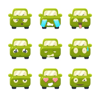 Cute cars with emoticons illustration set
