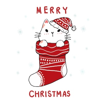 Cute carton doodle cat in christmas red sock, merry christmas.