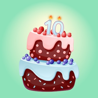 Cute cartoon 10 year birthday festive cake with candle number ten