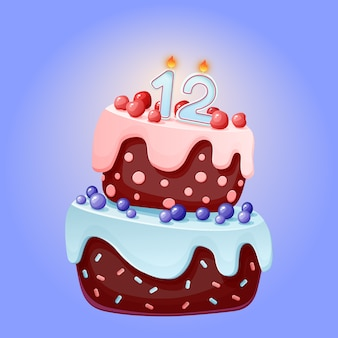 Cute cartoon 12 year birthday festive cake with candle number twelve
