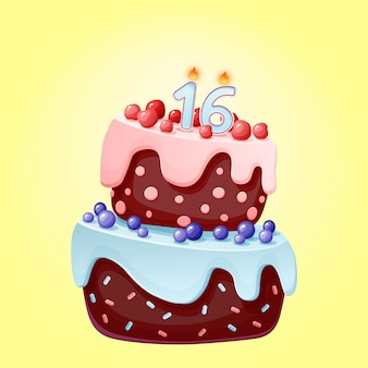 Cute cartoon 15 year birthday festive cake with candle number sixteen